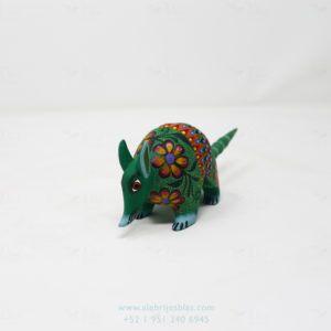Wood Carving Art Alebrije Flowered Armadillo VII