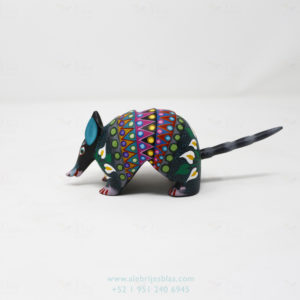 Oaxacan Wood Carvings, Alebrije Flowered Armadillo X