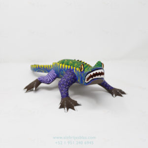 Wood Carving Art, Alebrije Wild Crocodile