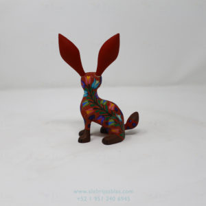 Mexican Art Decor, Alebrije Flowery Conejo V