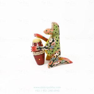 Wood Carving Art, Alebrije Ranita Musical Con Conga