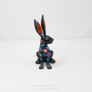 Mexican Art Decor, Alebrije Flowery Conejo IX