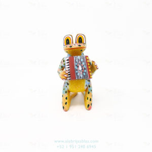 Mexican Folk Art, Alebrije Ranita Musical Con Acordeón