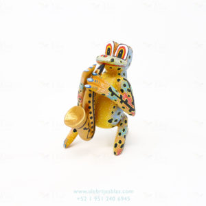 Mexican Art Decor, Alebrije Ranita Musical Con Saxofón