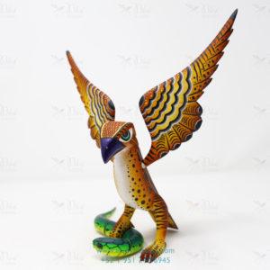 Talla de Madera Artesanal, Alebrije Águila sobre Serpiente II