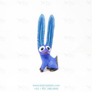Tallado en Madera, Alebrije Conejo Azul II