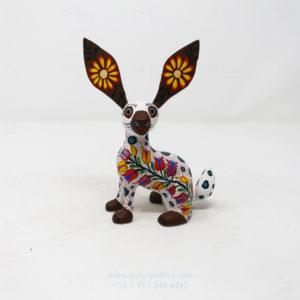 Alebrije Flowery Conejo XIV Tallado Por José Olivera Pérez